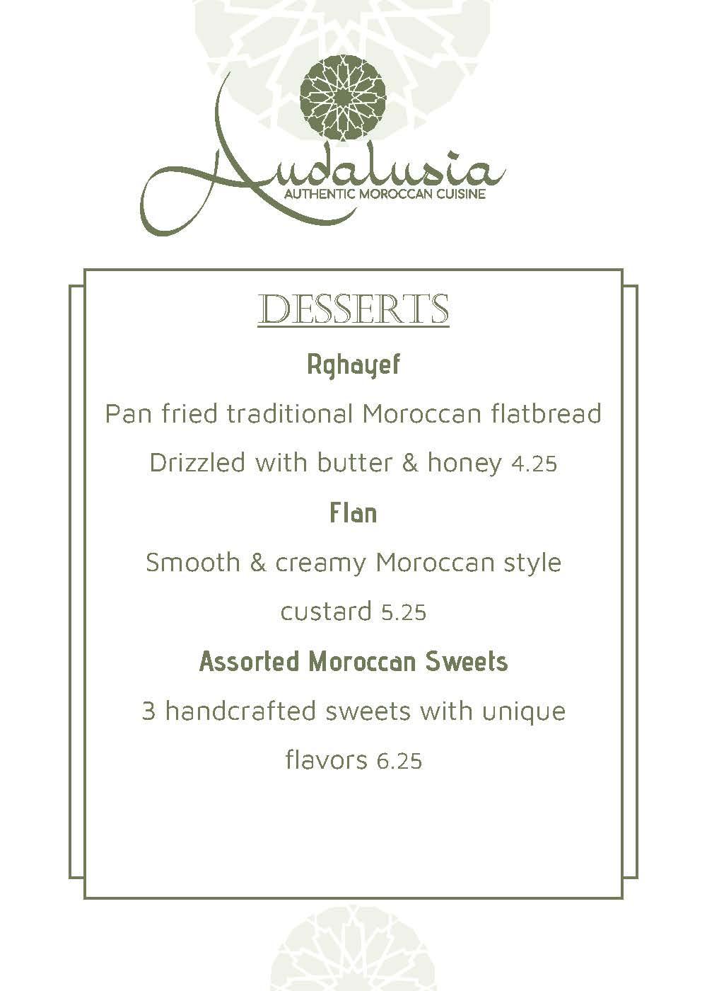 Andalusia Drinks Menu